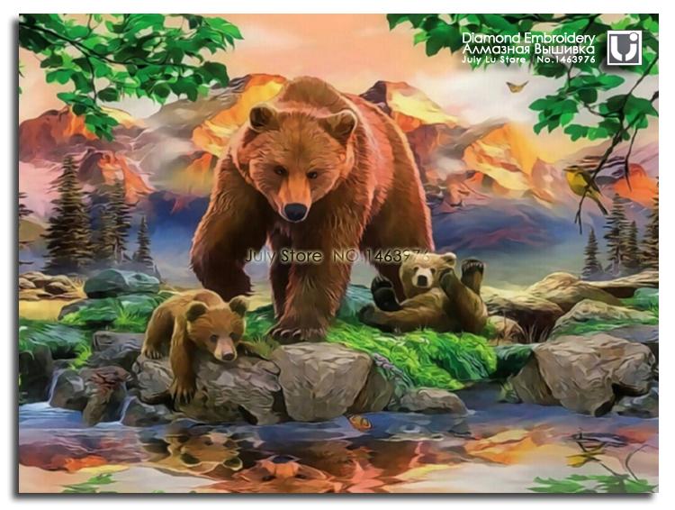 Медведь семьи мать и ребенок