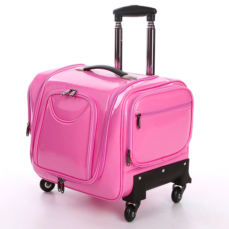 Pink professional Large multi-layer cosmetics trolley luggage female universal wheels travel bag car storage box(China (Mainland))