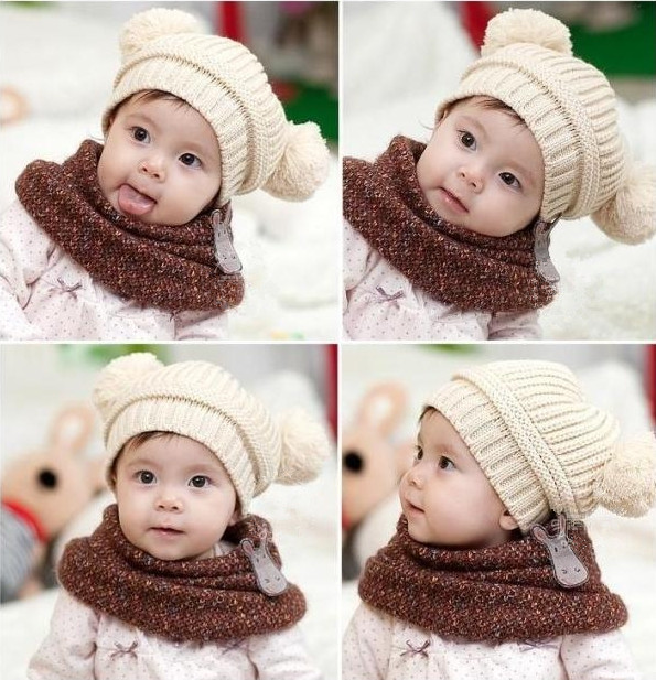 5pcs New Design Baby Hat Double Yarn Ball Fashion Knit Cap Warm Winter Infant Hat Girls/Boys Gifts  Whoesale TS0008
