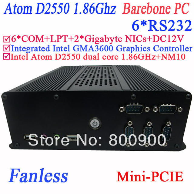 small fanless computer barebone pc with 6 COM PXE 2 RTL8111E Gigabyte Nics Intel atom D2550 dual core GMA36001.86Ghz Intel NM10