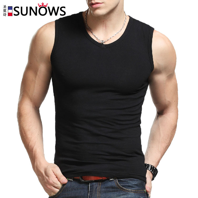 Man's 100% cotton pure color seamless underwear clothing close-fitting broad shoulders V/O-neck vest comfortable undershirt(China (Mainland))