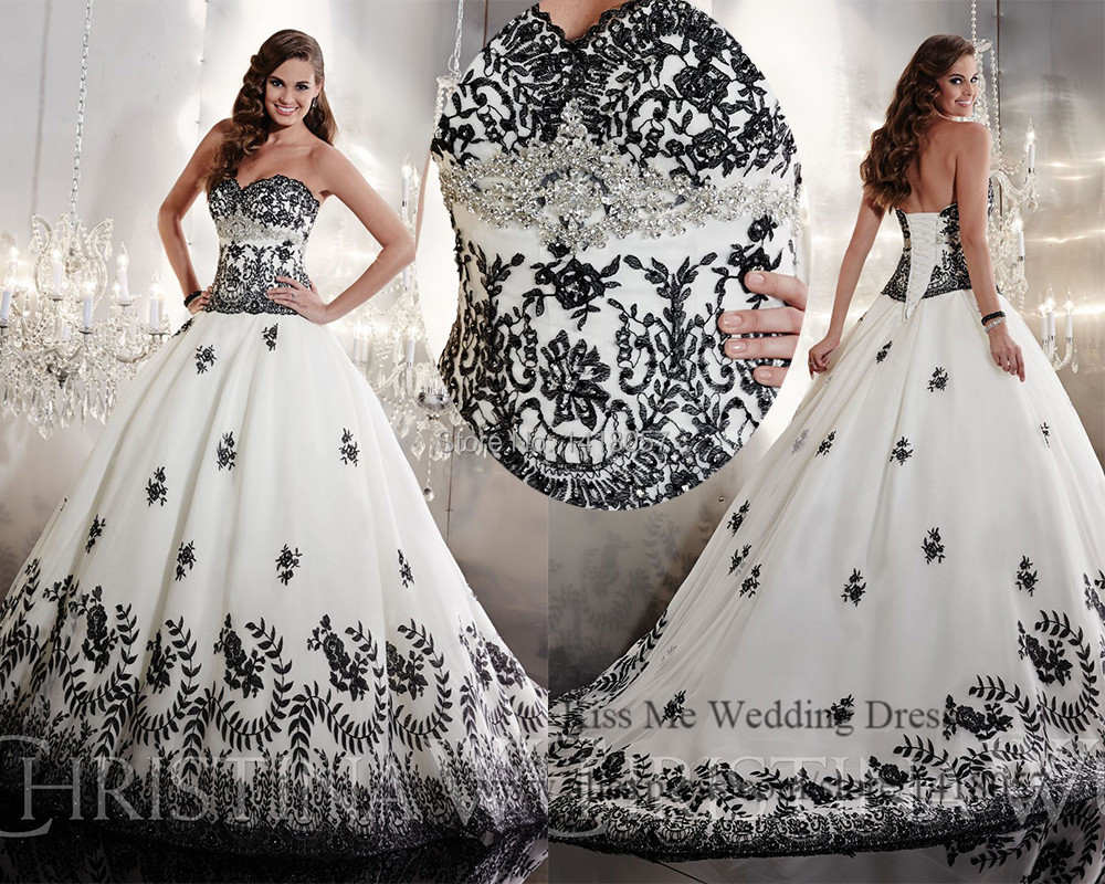 Embellished white and black wedding dress 2015 princess for Wedding dresses with lace up back