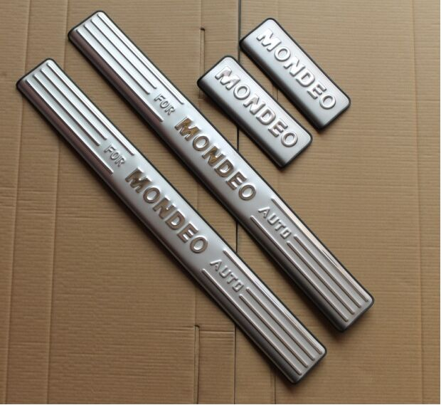 free shipping for Ford Mondeo door sill stainless steel scuff plate threshold sticker accessories 4 pcs(China (Mainland))