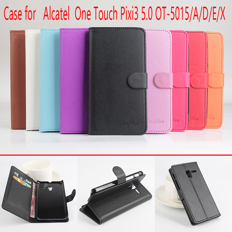 Newest Lichee Pattern Leather Flip Standby Cover For Alcatel one touch pixi 3 5.0 OT5015 Left&Right PhoneCases FreeShipping(China (Mainland))