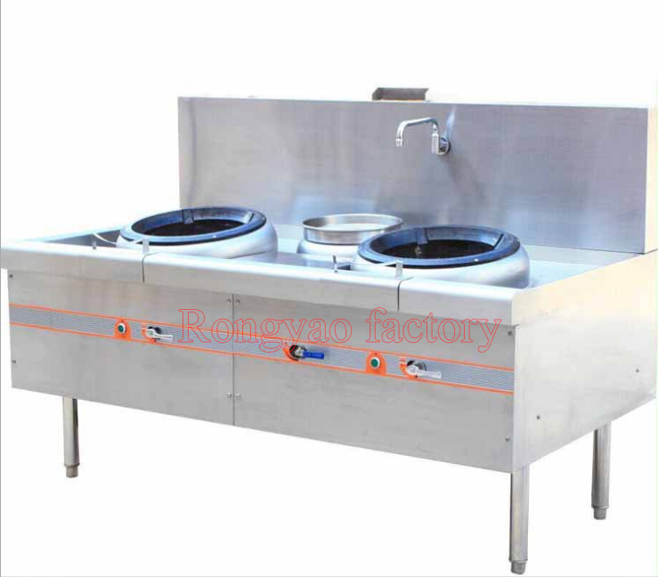 Stainless steel kitchen utensils Energy save environmental protection Gas catering kitchen equipment Double twin tail FRY stove(Hong Kong)