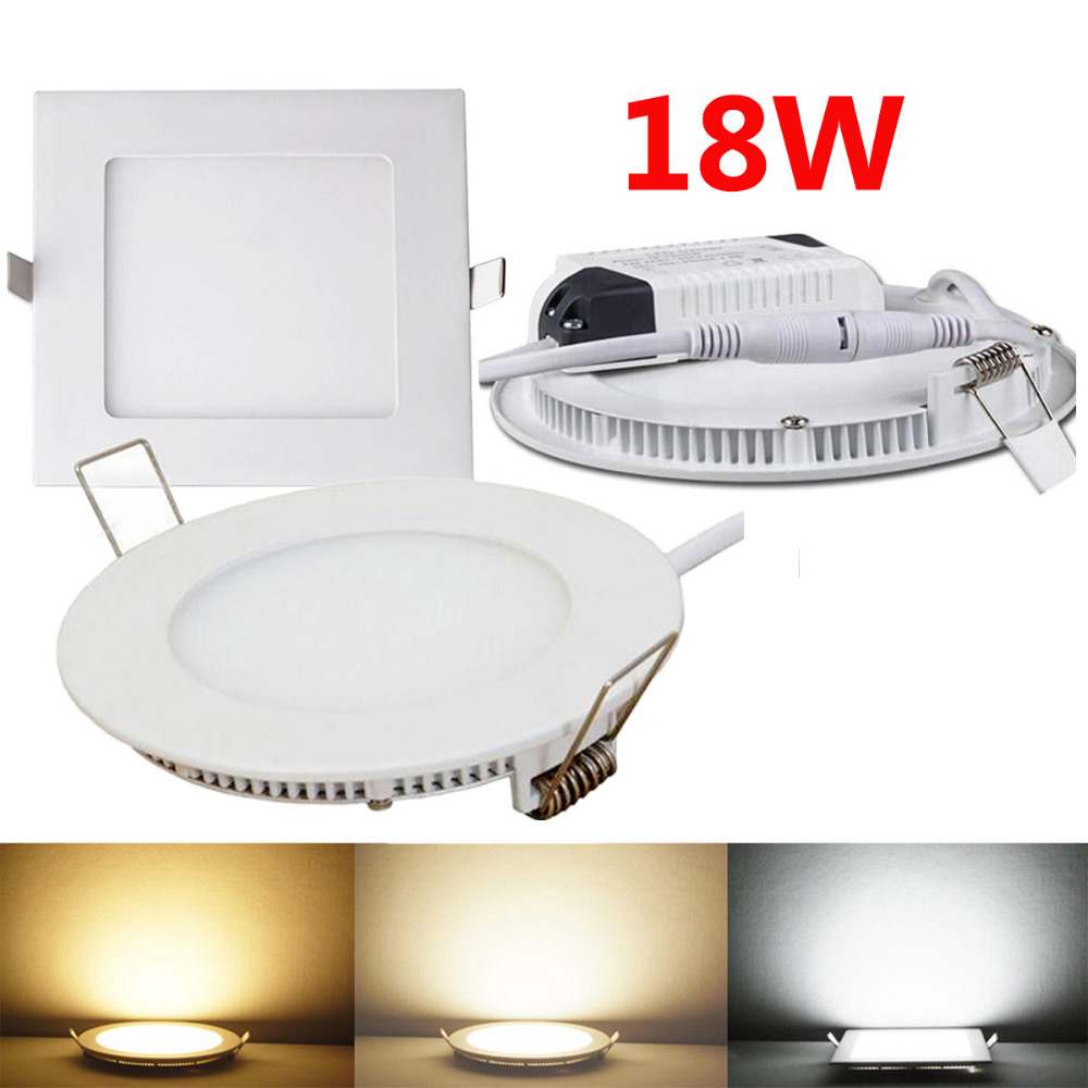 4PCS 18W Recessed Ceiling Round /Square Panel LED Down Lights Bulb Warm White/ Natural Wthite/White<br><br>Aliexpress