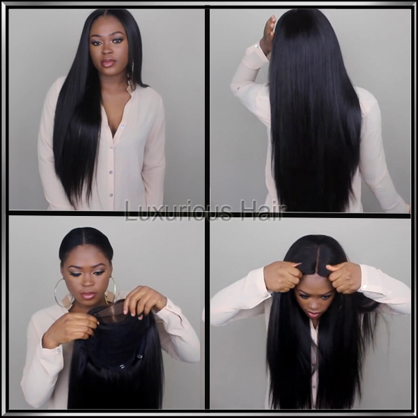 7A Full lace human hair wigs for black women Glueless full lace wigs Brazilian virgin hair straight human hair lace front wigs(China (Mainland))