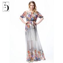 Women Plus Size Chiffon Perspective Dress Summer Fashion Bohemian Beach Holiday Print Dress Slash Empire Neck Maxi Dresses 7XL(China (Mainland))