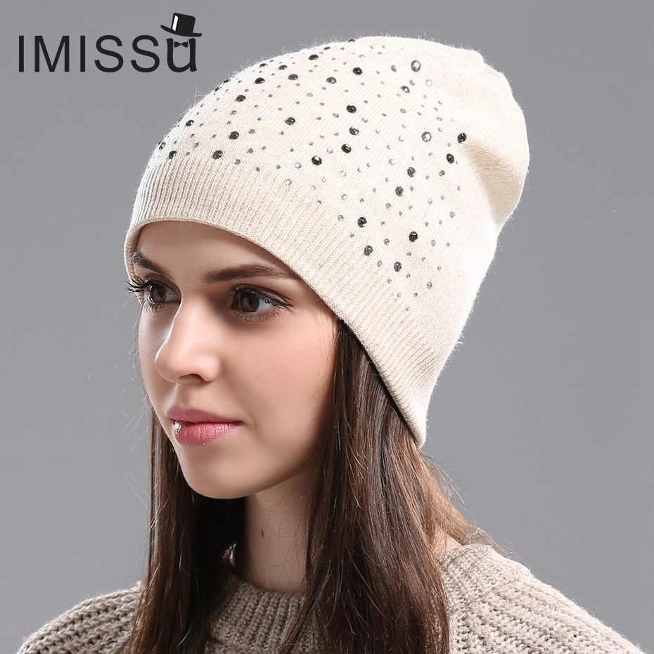 IMISSU Autumn Winter Beanie Hat Women's Knitted Wool Skullies with Crystal Casual Cap Solid Color Winter Hats for Women(China (Mainland))