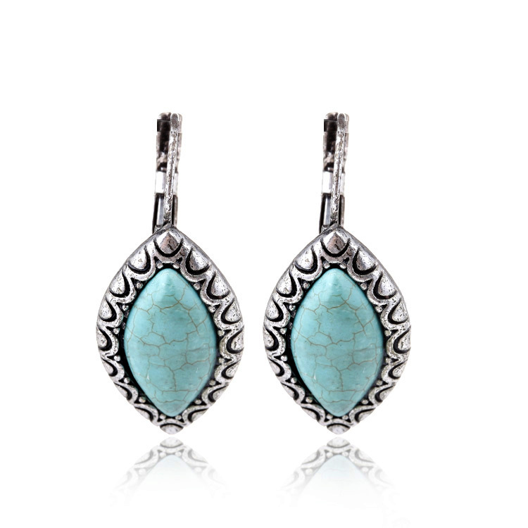 Min order $10 (mix order) 2014 New Fashion Turquoise jewelry Vintage Silver Horse Eye Shape Drop Earrings women - ANNAPAER Online Store store