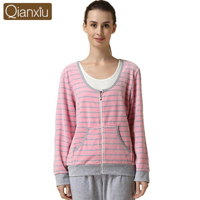 Qianxiu марка пижамы осенью и зимой женщины домашней одежды бархат с длинными рукавами ...