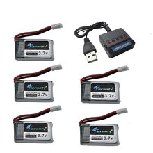 6pcs 3.7V 300mAh lipo Battery and 6-in-1 Charger For Syma X11 E55 FQ777 FQ17W F180 FY530 U816 U816A U830 X100 H107 S39-1 HD-1306(China)