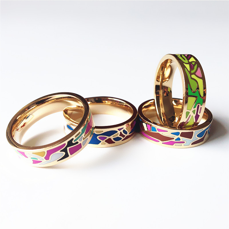 Ring Thin 0.6cm Width Gold Plated Abstract Pattern Enamel Ceramic Rings Top Quality Fashion Elegant Jewelry Drop shipping JZ8367(China (Mainland))