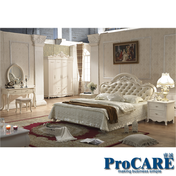 Size Solid Wood Hand Carved Modern Princess Bedroom Furniture Set