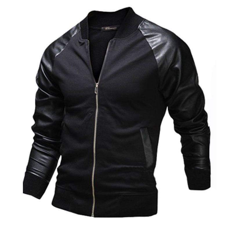 New Black Bomber Jacket Men 2016 Fashion Design Pu Leather Sleeve Mens Slim Baseball Jacket Casual Brand College Varsity Jakcet(China (Mainland))