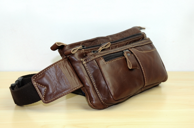 Гаджет  Wholesale 100% Genuine Leather Waist Packs Bags Fanny Pack for Men Tactical Belt Bag for Travel Retro Style Phone Pockets Bolsos None Камера и Сумки