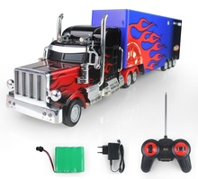 RC Truck Domineering US Truck High Simulate Remote Control Flames Truck Trailer with Detachable Container electronic toy(China (Mainland))