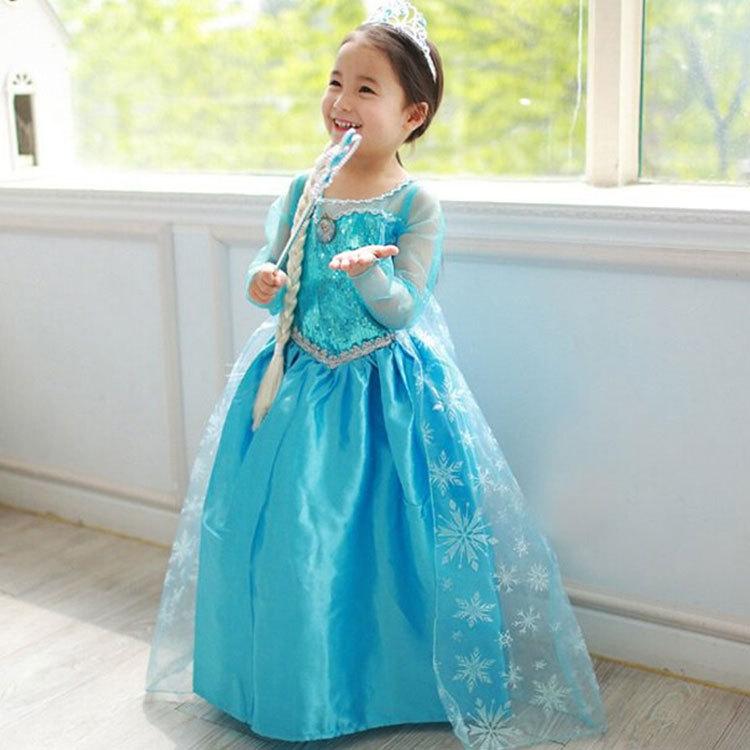Spot 2015 spring and summer European and American export snow girls dress children dress princess(China (Mainland))