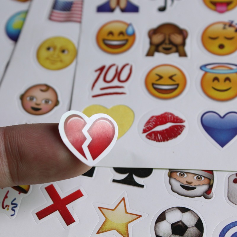 one sheet(48stickers ) 6styles  Cute Lovely 48 Die Cut Emoji Smile Sticker For Notebook Message High Vinyl Funny Creative