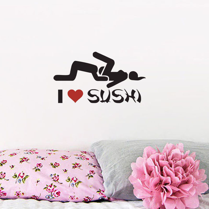 I Love Sushi Wall Stickers Small Home Decoration Accessories Bedroom Funny Wall Decals Sexy Car Styling Sticker(China (Mainland))