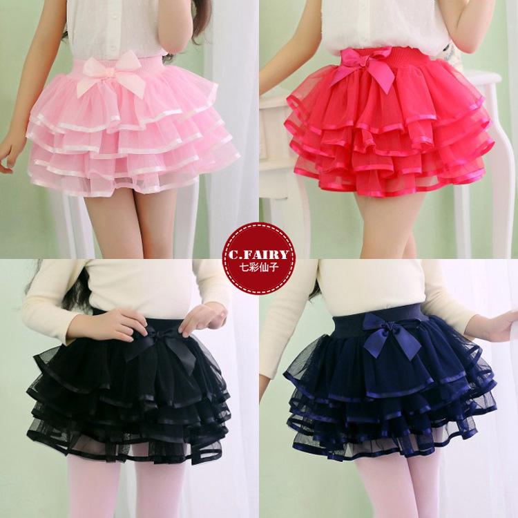 Hot Children Girls TuTu Skirts Princess Layered skirt Bubble Skirt Girl Dance skirts Bowknot Decorate - Dream Baby store
