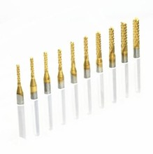 Lowest Price 10 Pcs Titanium Coat Carbide 1.5mm-3.175mm End Mill Engraving Bits CNC Rotary Burrs(China (Mainland))