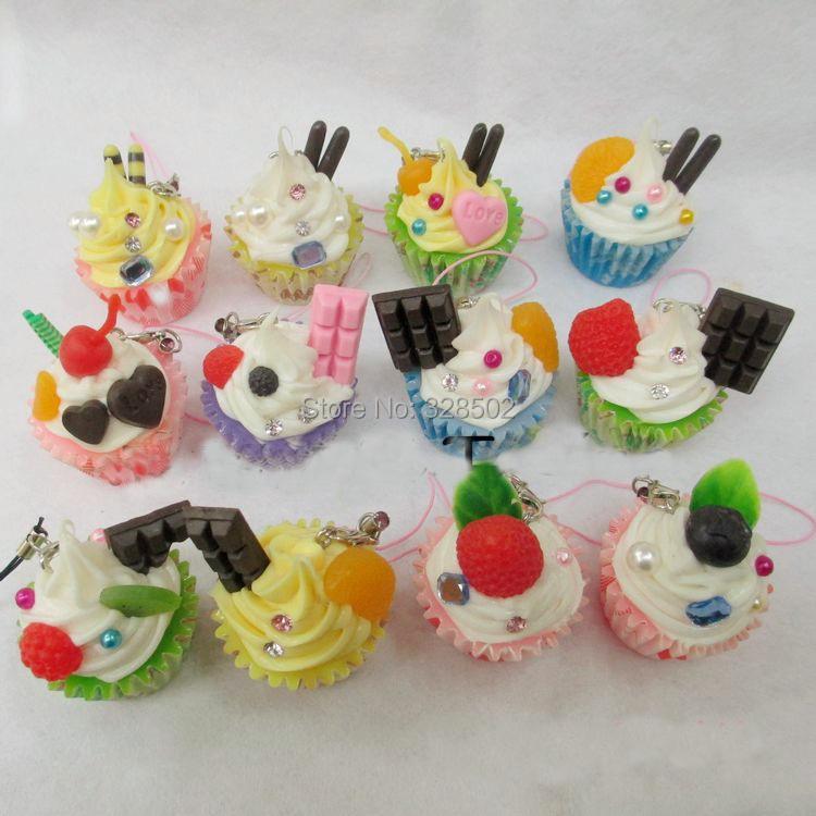 30pcs kawaii cute cake for mobile phone strap cell phone charm kawaii squishies free shipping(China (Mainland))