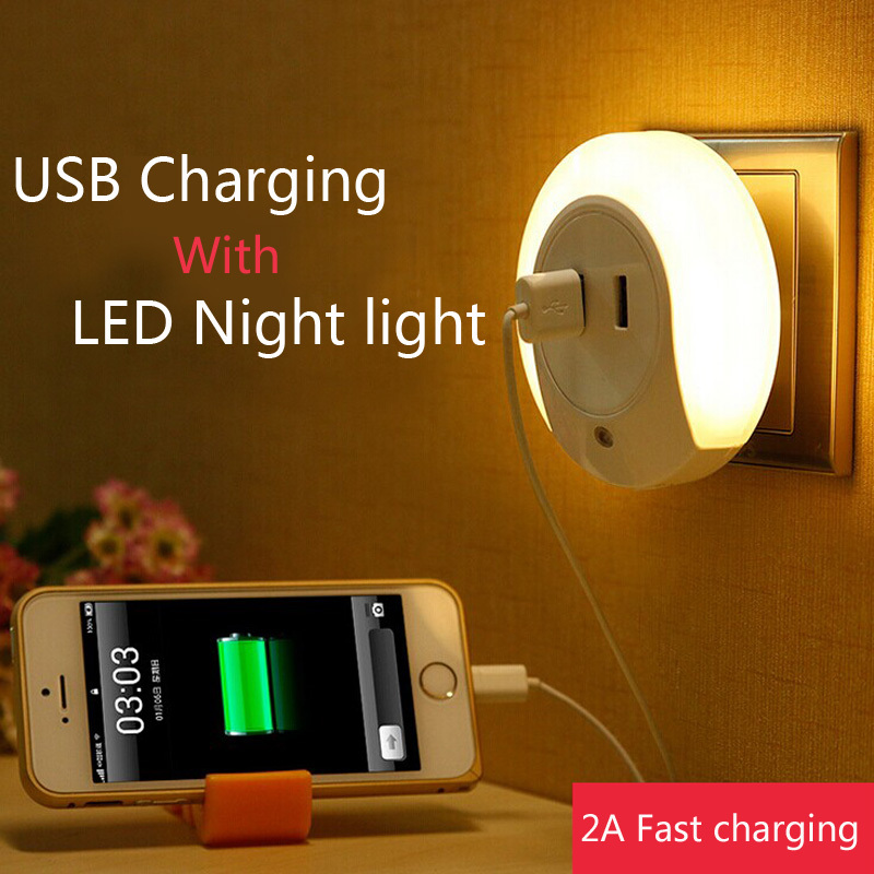 Wall Lamp With Usb : Baby night light sensors light control US 220v with usb charging wall lamp bedside lamp for ...