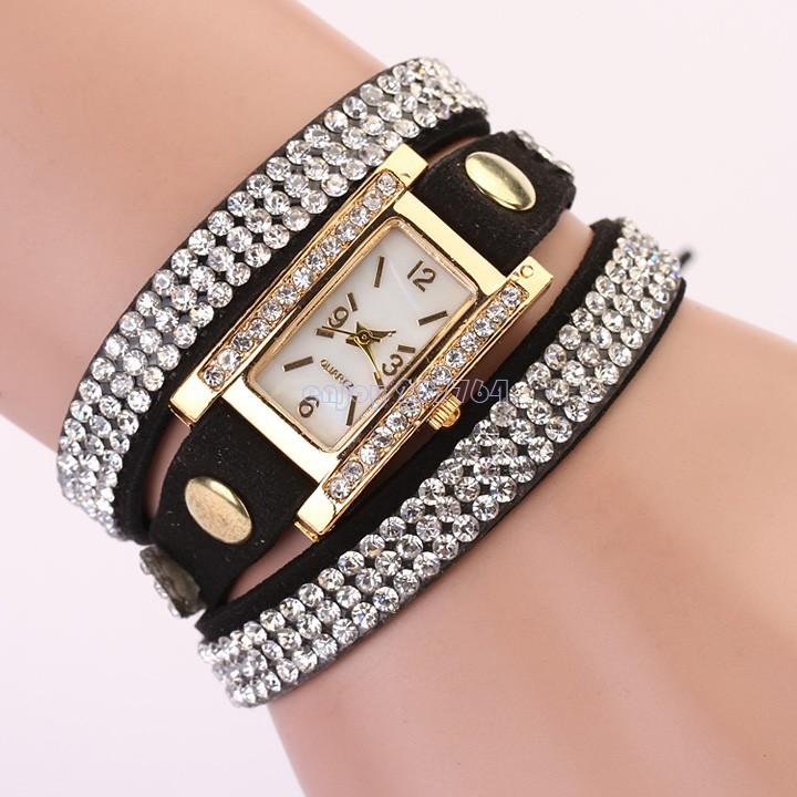 2015 New Arrivals Women's Lady Square Rhinestone Weave Wrap Multilayer Leather Bracelet Vintage Wrist Watch - Enjoy Technology store