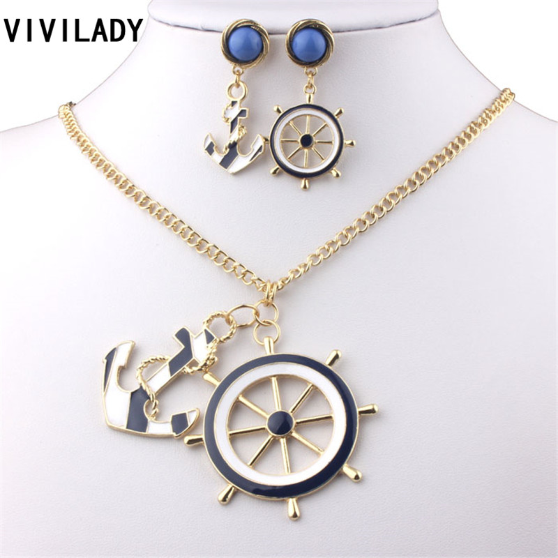 viviLady Fashion Blue Anchor Rudder Navy Jewelry Sets Women Gold Plated Metal Long Chain Pendant Necklace Earrings - ViviLady store
