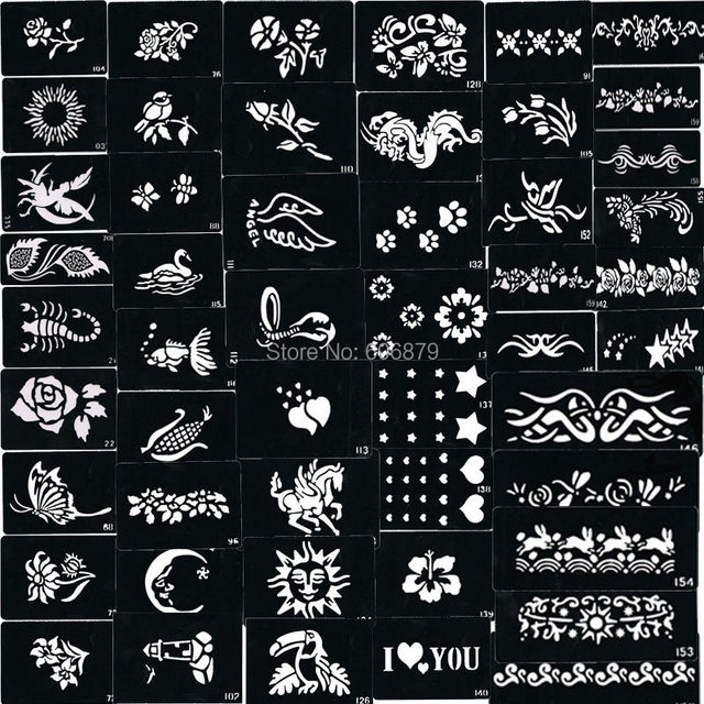 Glitter Tattoo stencil design for Body art Painting, 500 sheets, Mixed Designs Supply DHL free shipping for glitter stencil kits