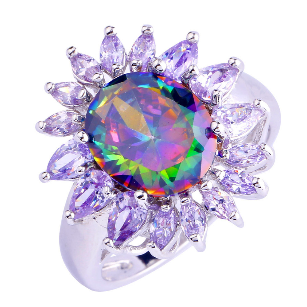 Buy Lingmei Sunflower Style Women Fashion Rings Jewelry Multi Color Rainbow