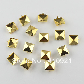 100pcs 10mm Gold Pyramid Studs Rivet Spike Nickel Punk Bag Belt Leathercraft Bracelets Clothes Free Shipping