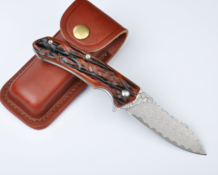 Buy KESIWO Damascus blade tactical folding knife wood handle outdoor utility camping survival knife hunting hand tool knives cheap