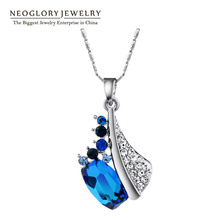 Neoglory Blue Austrian Crystal Auden Rhinestone Necklaces & Pendants For Women Fashion Brand Jewelry  2016 New QC(China (Mainland))