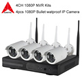 4CH 1080P NVR Kits Plug and Play Wireless P2P Connection 4pcs Security IP Camera WIFI CCTV