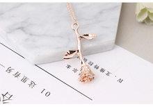 Gorący bubel delikatny wisiorek kwiat róży naszyjnik z amuletem złoty srebrny piękno róża biżuteria naszyjnik dla kobiet dziewczyn 036(China)