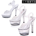 Women Shoes Sandals Female model T Station serves Sexy Transparent Slipper 15cm Super High Heels Waterproof