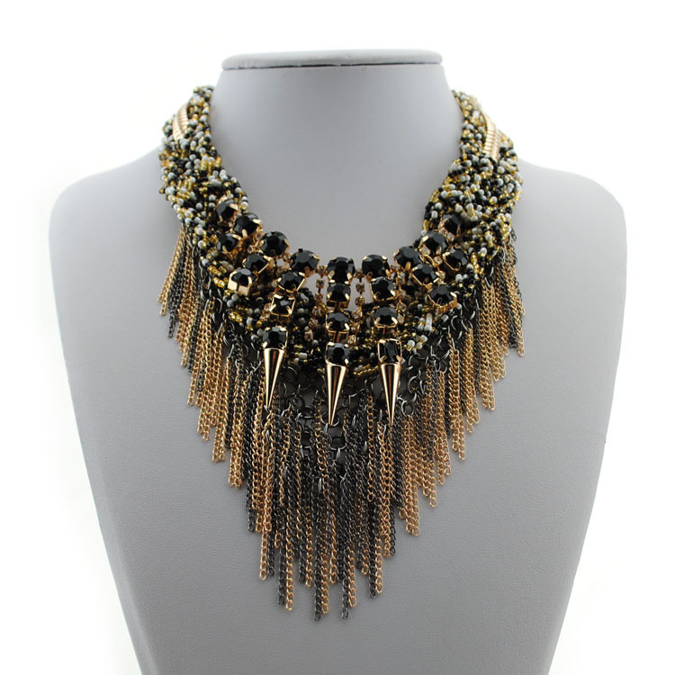 2015 New Vintage Jewelry Gothic Punk Style Metal rhinestone Multilayer tassel Statement Necklaces Women DFX-813 - Top Shop store
