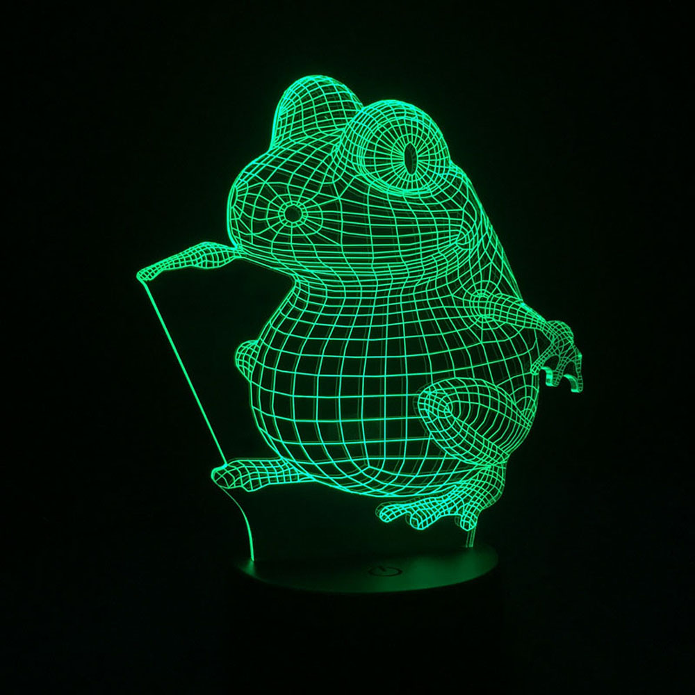 3D Visual Night Lamp Battery Powered Nightlights Frog Touch Switch LED Baby Veilleuse Lampe Enfant Baby Room Bedside Luminaria(China (Mainland))