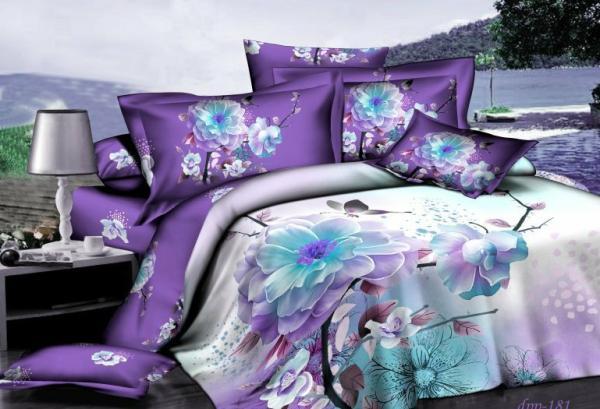 Purple Blue Floral Flower Bedding Set For Queen Size Duvet Cover Designer Bedspread Bed In A Bag