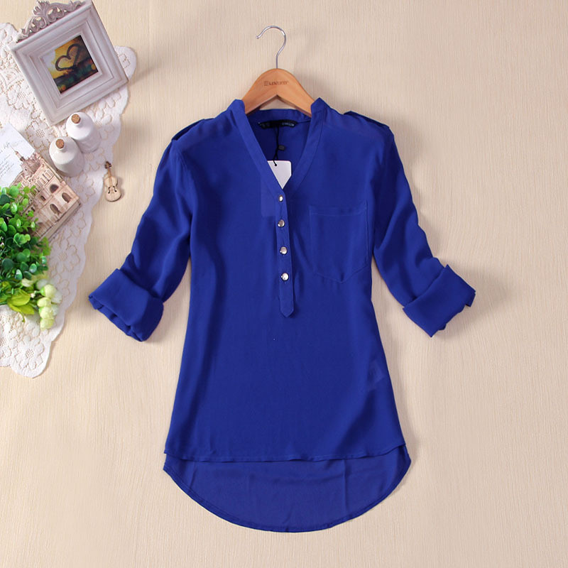 Images of Royal Blue Shirts For Womens - Reikian