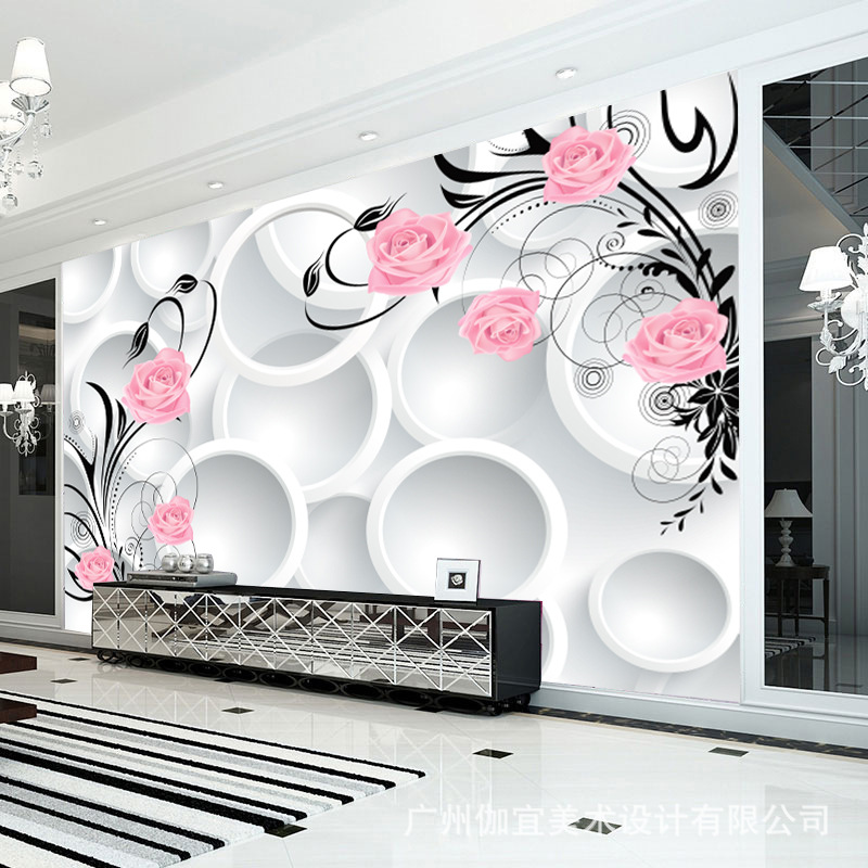 Modern 3d abstract wallpapers flower wall murals papel de - Papel de pared moderno ...