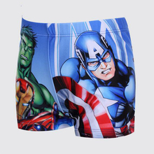 Boy Swimwear American captain Hulk iron Man cartoon Anime boy Swimming Trunks Children Swimsuit baby boy clothes 3-11T(China (Mainland))