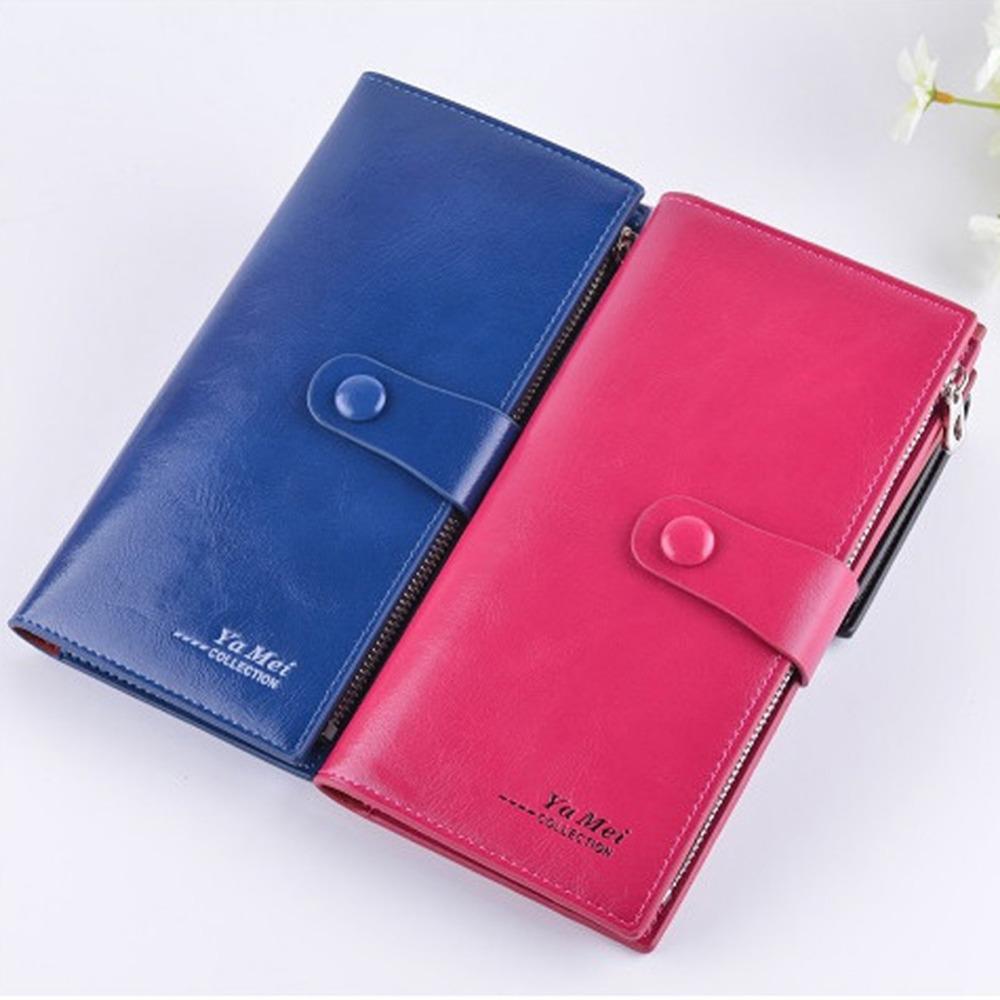 2016 Hot Sale Women Leather Wallets Oil Wax Paper Wallet Double Day Clutch Purse Wristlet Handbags Carteira Feminina W1(China (Mainland))