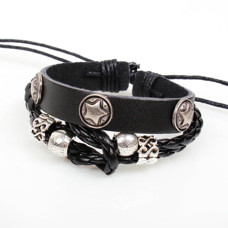 Design Fashion Vintage Unisex Metal Pentagram Adjustable Bracelet Jewelry Leather Men Women - Sonia's store