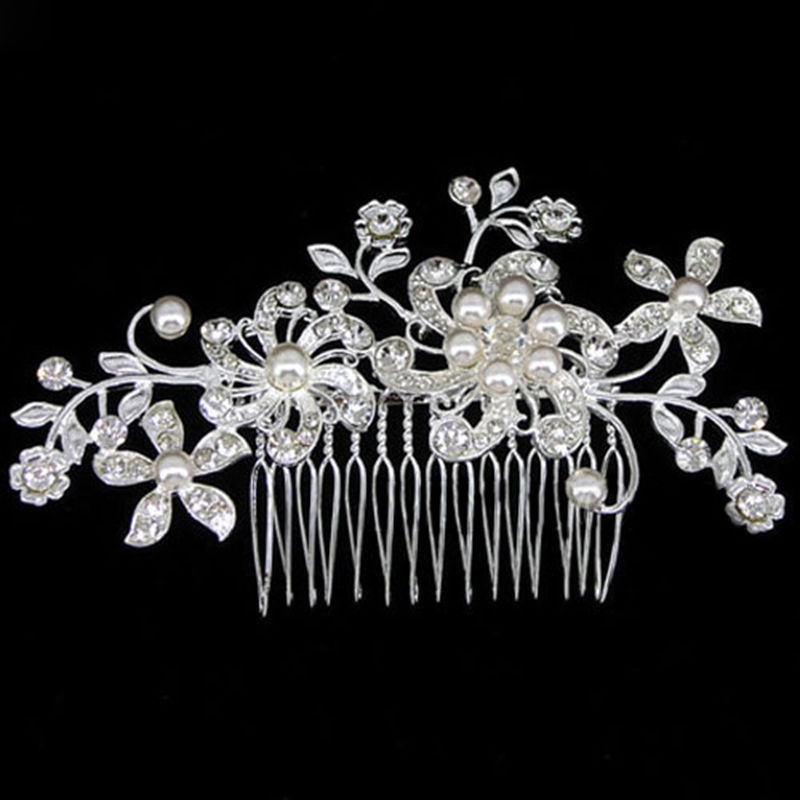 2016 New ArrivaL 1*Bridal Jewellery Silver Wedding Flower Pearl Hair Comb Clip Crystal Rhinestone Free Shipping(China (Mainland))