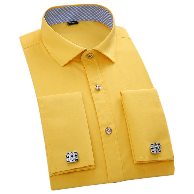 Mens Top Quality French Cufflinks Shirts Long Sleeve