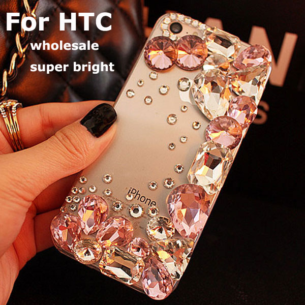Pink Luxury Diamond Case Cover For HTC Desire 320 500 510 516 600 610 601 616 626 700 816 820 Clear plastic hard phone cases(China (Mainland))