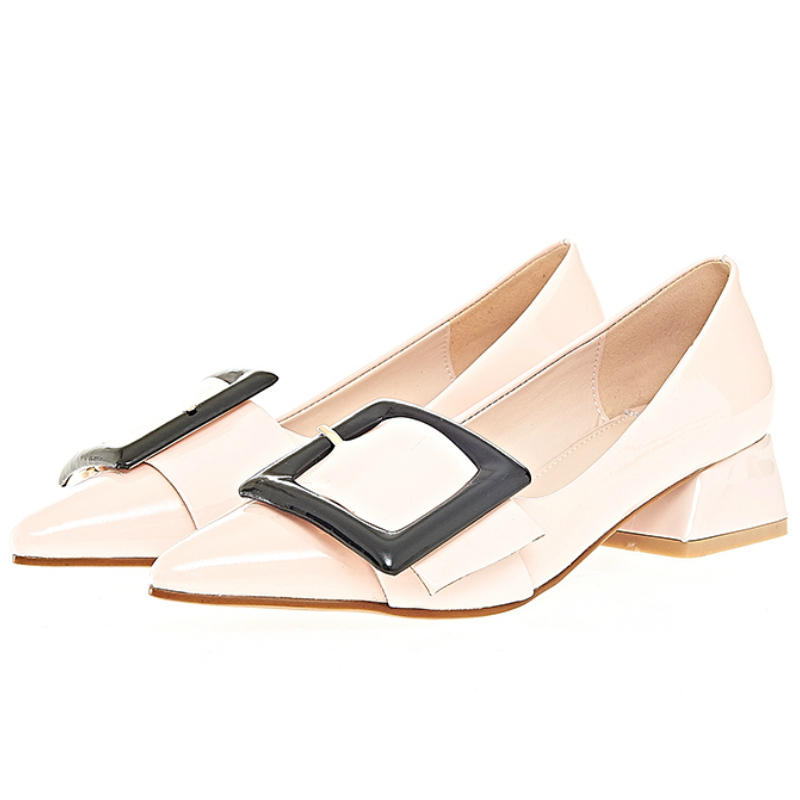 2016 Spring summer fashion women genuine full grain leather 4cm square low heeled single shoes women brand pointed toe pumps<br><br>Aliexpress